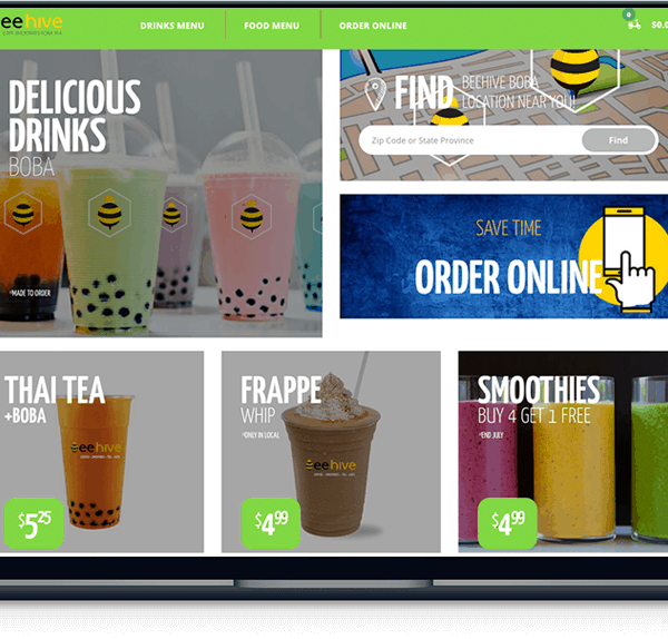 boba and smoothies website Boba and Smoothies Website banner web design beehive boba laptop 600x574