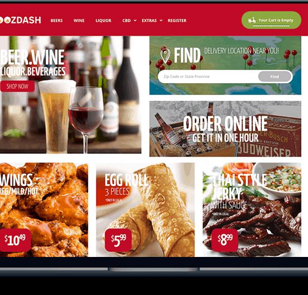 boozdash delivery service BoozDash Delivery Service banner website design food boozdash 600x574