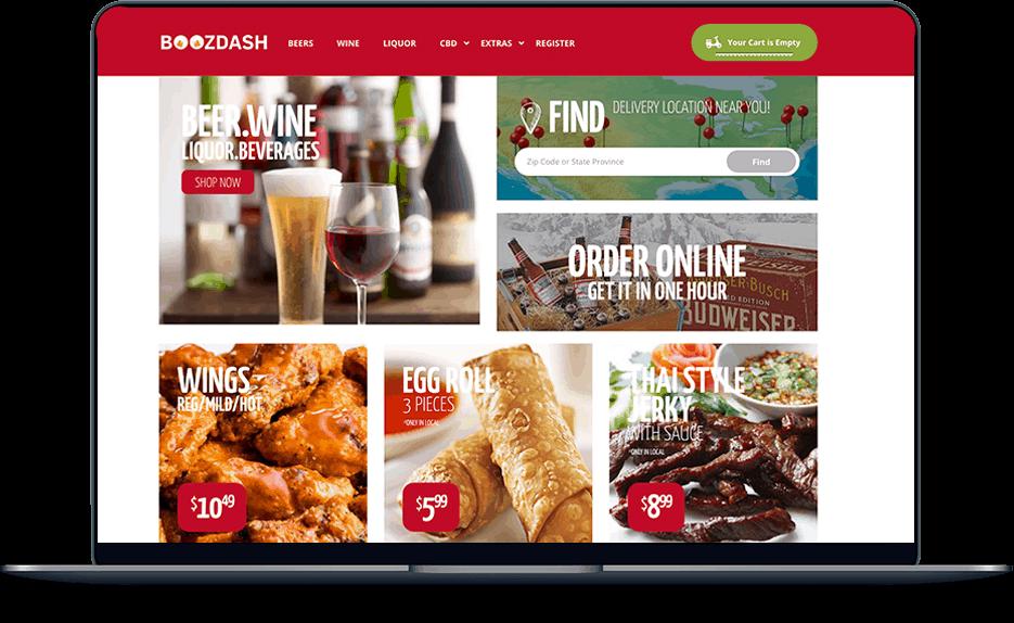 boozdash delivery service BoozDash Delivery Service banner website design food boozdash