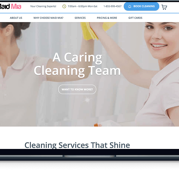 maid mia cleaning service Maid Mia Cleaning Service banner web design maid mia laptop 600x574