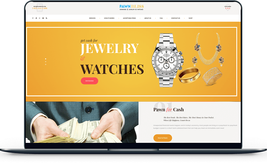 pawn shop Pawn Shop banner web design pawn bliss laptop